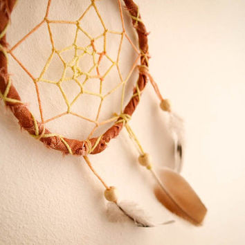 Dream Catcher - Close to the Nature - With Natural Feathers, Hand Painted Brown Frame and Transitional Web - Boho Home Decor, Nursery Mobile