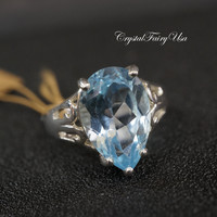 Genuine Topaz Ring - Large Swiss Blue Topaz Ring -  Engagement Ring - Fine Gemstone Ring - Size 7  Sterling Silver Diamond Ring
