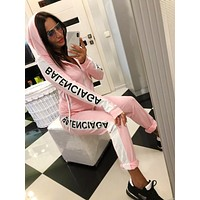 BALENCIAGA Hot Sale Women Casual Long Sleeve Zipper Jacket Coat Top Pants Set Two-Piece Pink