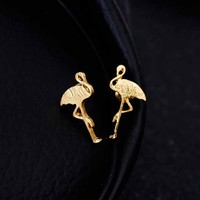listing beautiful flamingo animal earrings screw bronze earrings female girl jewelry birthday party