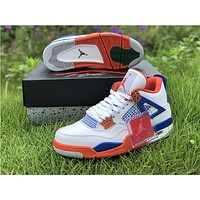 Air Jordan 4 Retro 308497 171 - White/Orange/Blue