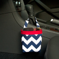 CAR CELLPHONE CADDY Riley Blake Navy Chevron, Phone Holder, Sunglass Case, Beach Chair Caddy, Pool Chair Holder, Golf Cart Bag