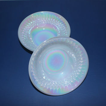 Pair of Federal Glass moonglow iridescent opalescent milk glass small bowls