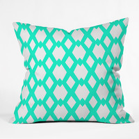 Lisa Argyropoulos Daffy Lattice Aqua Outdoor Throw Pillow