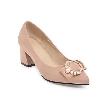 Pointed Toe Pearls Chunky Heel Pumps Shoes Woman 5047