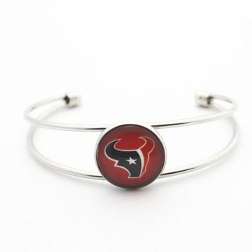 New Style 1pcs Glass Print Football Team Houston Texans Copper Open Bracelet For Women Men Fashion Bracelet Bangles Jewelry