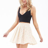 FOREVER 21 Pleated Lace Skater Skirt Cream
