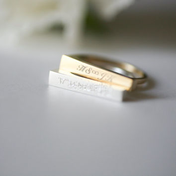 bar ring, engrave ring, custom ring, personalized ring, made to order ring, latitude longitude ring, custom band in gold or silver