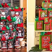 42 Pc Designer Holiday Bag & Tissue Paper Set Gift Bag Set Christmas Artwork