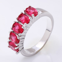 925 Silver 5 Rhinestones Band Ring at Online Jewelry Store Gofavor