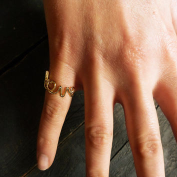14K Solid Gold LOVE Ring, Geometric Ring w Clear or Black Cubic zirconia, Double Gold Ring, Two Bar Gold ring.