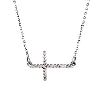 15.5mm Sideways Beaded Cross Necklace in 14k White Gold, 16.5 Inch