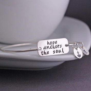 Hope Anchors the Soul Bracelet, Inspirational Jewelry, Anchor Bracelet Charm