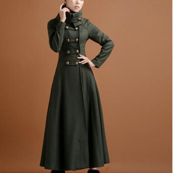 Double breasted woolen overcoat ultra long coat paragraph outerwear slim elegant military wind G231