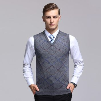 High quality autumn new arrival male cashmere sweater sleeveless pullover fashion striped mens v-neck wool sweater vest