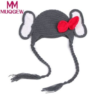 MUQGEW baby cap For Girls Boys Hand-woven elephant kids boy girl caps bow knot chapeau Cotton thread Knit Crochet Beanie 0-6M