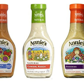 Annie`s Natural Dressing Variety Pack ,8 Fl oz each ,(Woodstock, Cowgirl Ranch,Goddness) (Pack of 3)