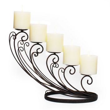 Decorative Iron Pillar Candle Holder (Holds 5 Pillar Candles)