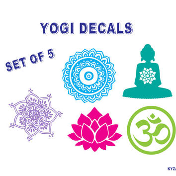 YOGI DECALS Om Buddha Lotus Flower Henna Decals Bumper Sticker Yoga Design Peace