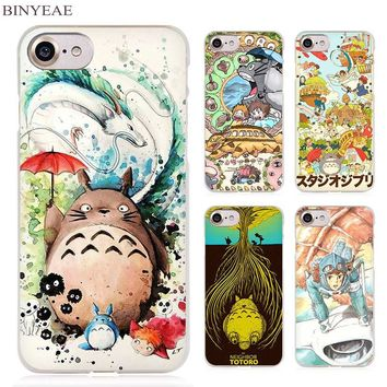 BINYEAE Studio Ghibli Ghiblies totoro Clear Cell Phone Case Cover for Apple iPhone 4 4s 5 5s SE 5c 6 6s 7 Plus