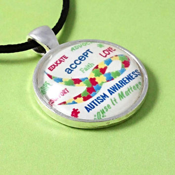 Autism awareness because it matters. Autism necklace, autism jewelry, Autism awareness, accept love support pendant. Puzzle piece necklace.