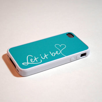 Let it Be in Tiffany Blue Rubber Silicone Custom iPhone Case - song lyrics, unique iphone cases, vintage, antique, the beatles