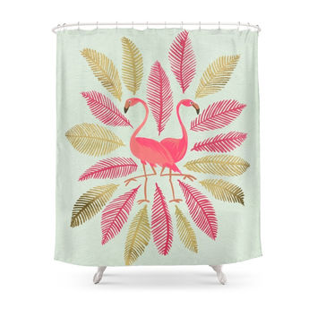 Society6 Flamingos – Pink & Gold Shower Curtains