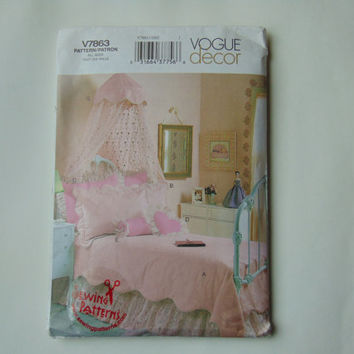 Vogue Décor Sewing Pattern V7863 Girls Bedroom Canopy Twin Full Sewing Pattern UNCUT