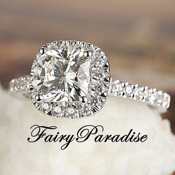 2 Ct Cushion Cut lab made Diamond (not CZ) Halo Set Tiffany Inspired Engagement Wedding Promise Ring - made to order ( FairyParadise )