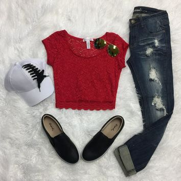 You are My Sweetheart Lace Crop Top: Red