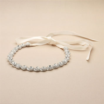 Silver Bridal Headband with Genuine Preciosa Crystals