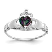 14k White Gold June Mystic Topaz Heart Claddagh Ring