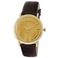 Pre-Owned Movado Automatic - Deco Textured Gold-Tone Dial - Brown Lizard Strap