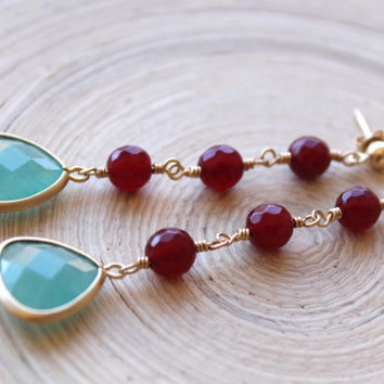 Long Gemstone earrings, Mint Aventurine Glass stone in gold settings and Red Garnet color Jasper gemstones, Gold filled Earrings, Prom 2015