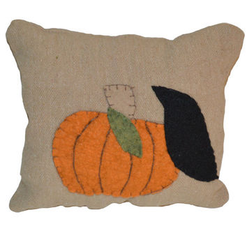 Rustic Pumpkin, Crow and Pumpkin, Primitive Pumpkin Pillow, Wool Felt Pillow, Applique Pumpkin Pillow, Fall Pillow, Fall Decor, Shelf Sitter