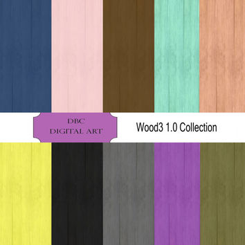 The Wood3 1.0 Collection Digital Paper, Scrapbooking, Scrapbooking paper Invitation, Background, Wood in Blue, Gray, Yellow, Purple, Pink