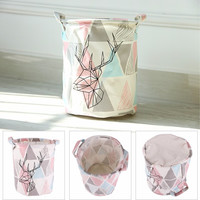High Quality Retro Triangle&Deer Pattern Linen Desk Toy Storage Box Holder Laundry Basket With Handle #226347