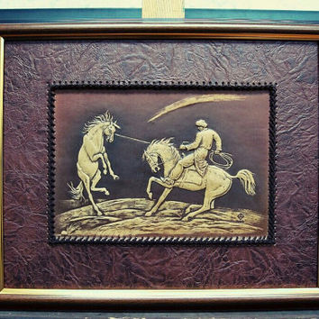 wild horse, wall hanging, leather, 3D picture, nomad, horse, handmade wall decor,birthday gift, mustang,artwork,brown
