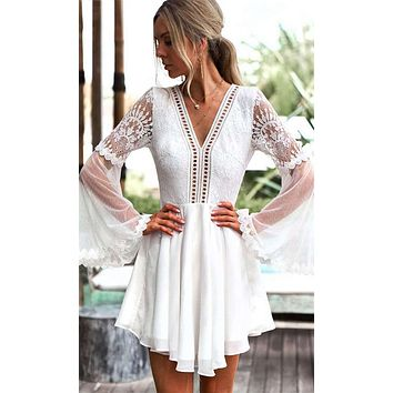Feeling Flirty White Sheer Mesh Lace Long Bell Sleeve Plunge V Neck Cut Out Back Skater Flare Casual Mini Dress