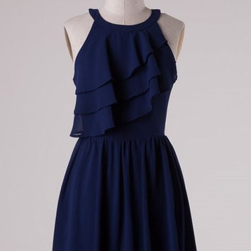 Ruffle Dress - Navy