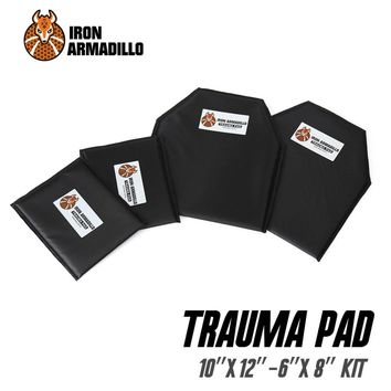"Iron Armadillo Armor Blunt Force Trauma Pad NON-BALLISTIC 10""X12"" 6""x8"" KIT Not Bulletproof"