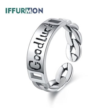 IFFURMON 100% Real 925 Sterling Silver Rings For Women Engagement Wedding Party Engrave GOOD LUCK Dubai Russian Gift Ornaments