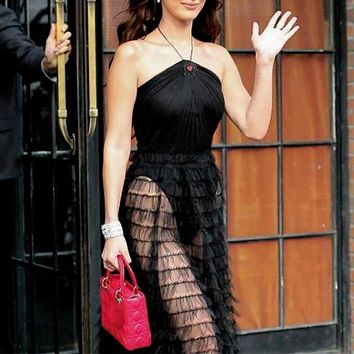 Black Transparent Mesh Long Skirt