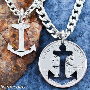 Beach Jewelry, Inside and Outside Pieces, Relationship Necklace, Anchor