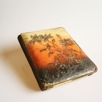 Antique Art Nouveau floral photo album, vintage flower photo book, Art Nouveau decor, Victorian picture album, Belgian Art nouveau decor