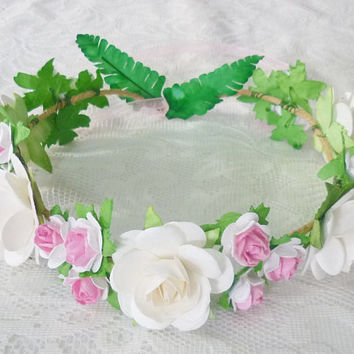 Pink tone big rose flower crown flower crown /Rose  headband /flower crown /floral headpiece/ flower crown ribbon tie back