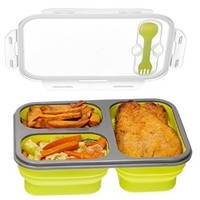 3-compartment Food Container with Lid, Bento Lunch Box, Leak Proof, Microwave Safe, Silicone Collapsible Lunch Box, Tray with Lid, Dishwasher Safe-green