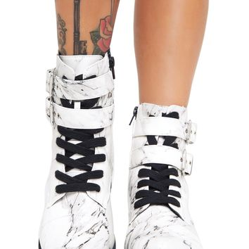 Rock Solid Marble Combat Boots