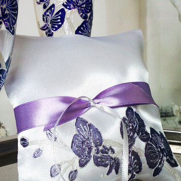 Hand painted Satin ring bearer pillow Purple orchid theme wedding personalized wedding favor
