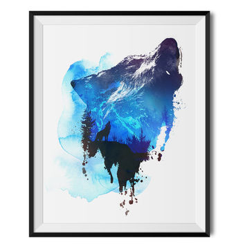 Wolf Art Print Wolf Wall Decor Wolf Wall Art Watercolour illustration Giclee Wolf Home Decor Animal Mountain Print
